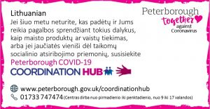 Lithuanian COVID19 Co-ordination Hub Message